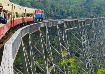 A train on a high bridge